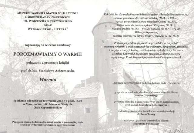 Wieczór zamkowy – Porozmawiajmy o Warmii połączony z promocją książki prof. dr hab. Stanisława Achremczyka - full image