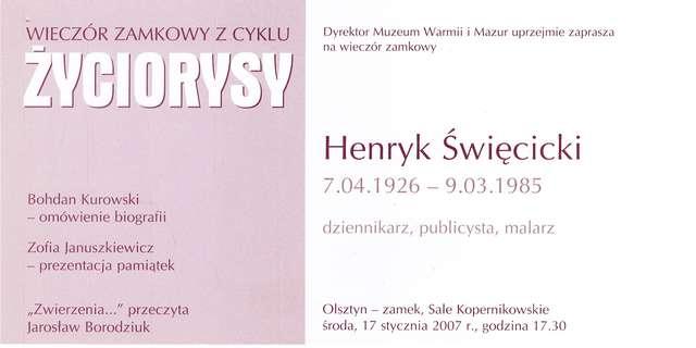 """Wieczór zamkowy – cykl """"Życiorysy"""" (Henryk Święcicki) - full image"""