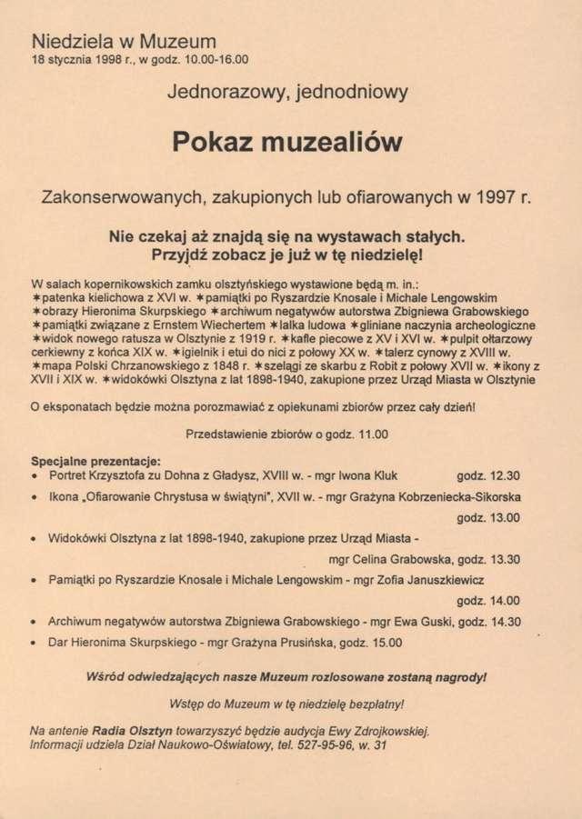 Pokaz muzealiów zakonserwowanych, zakupionych lub ofiarowanych w 1997 r. - full image