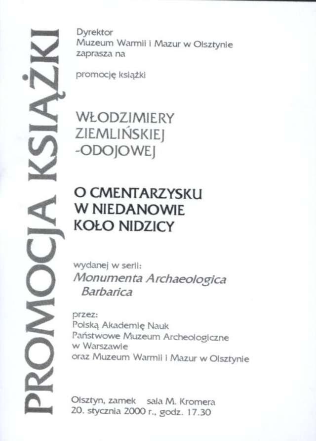 """Promocja książki Włodzimiery Ziemlińskiej–Odojowej """"O cmentarzysku w Niedanowie koło Nidzicy""""  - full image"""
