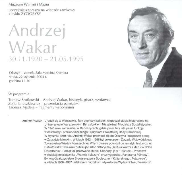 Wieczory zamkowe - cykl Życiorysy (Andrzej Wakar) - full image