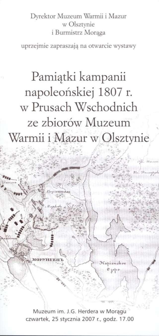 Wystawa – Pamiątki kampanii napoleońskiej 1807 r. w Prusach Wschodnich ze zbiorów MWiM w Olsztynie  - full image