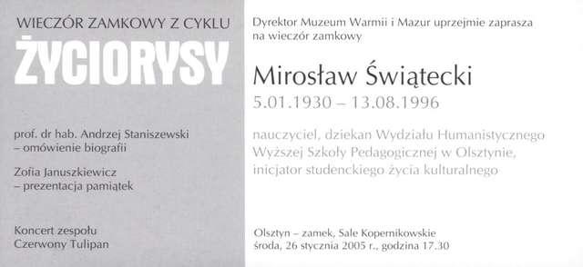 Wieczory zamkowe - cykl Życiorysy (Mirosław Świątecki) - full image