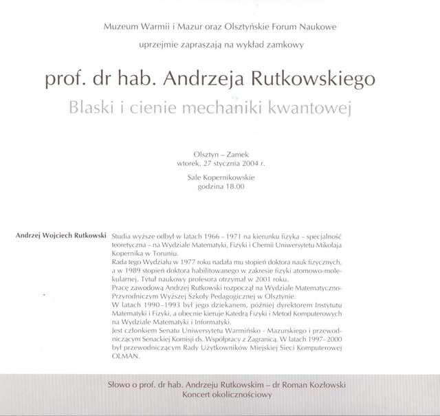 Wykład zamkowy – Blaski i cienie mechaniki kwantowej – prof. dr hab. Andrzej Rutkowski - full image