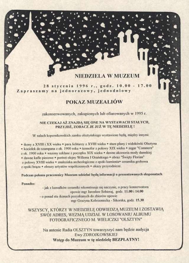 Pokaz muzealiów zakonserwowanych, zakupionych lub ofiarowanych w 1995 r. - full image