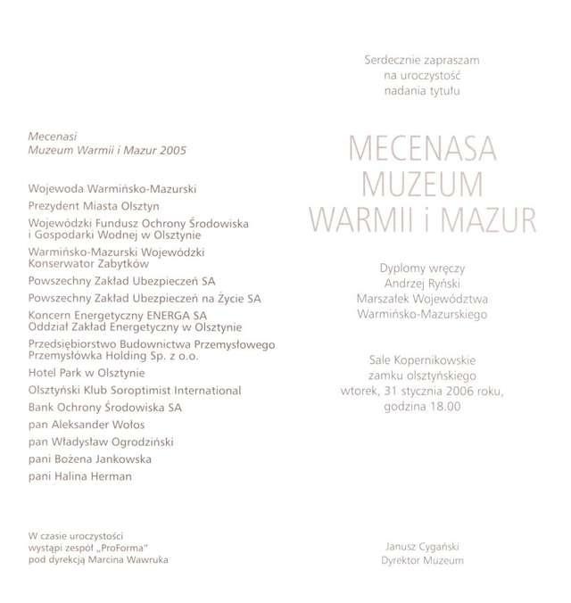 Uroczystość nadania tytułu Mecenasa Muzeum Warmii i Mazur - full image
