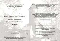 Wieczór zamkowy – Porozmawiajmy o Warmii połączony z promocją książki prof. dr hab. Stanisława Achremczyka