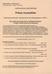 Pokaz muzealiów zakonserwowanych, zakupionych lub ofiarowanych w 1997 r.