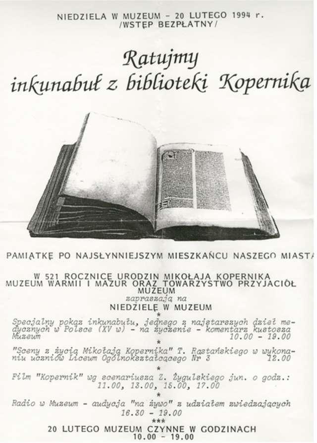 Niedziela w Muzeum – Ratujmy inkunabuł z biblioteki Kopernika - full image