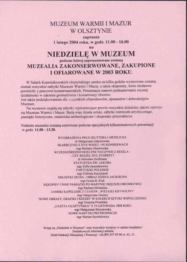 Muzealia zakonserwowane, zakupione lub ofiarowane w 2003 r. - full image