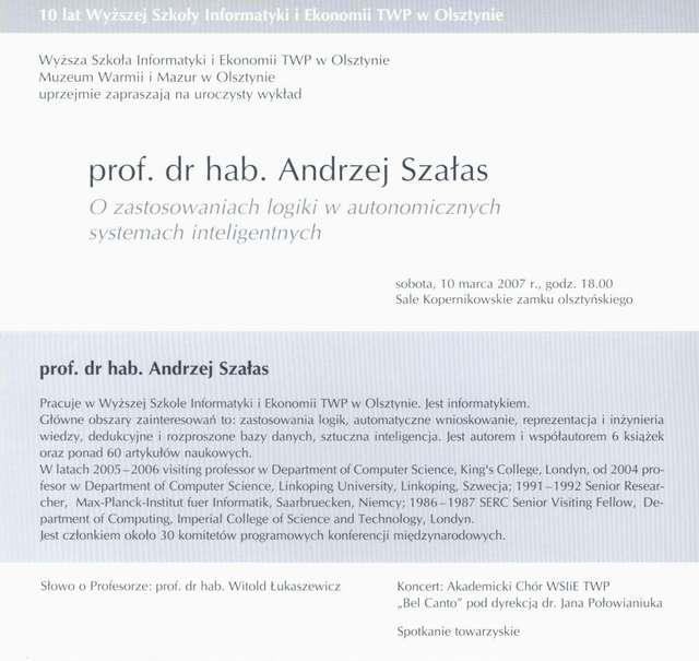 Wykład – prof. dr hab. Andrzej Szałas – O zastosowaniu logiki w autonomicznych systemach inteligentnych  - full image