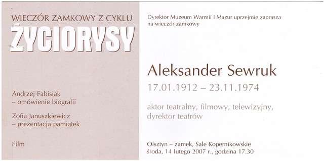 """Wieczór zamkowy – cykl """"Życiorysy"""" (Aleksander Sewruk) - full image"""