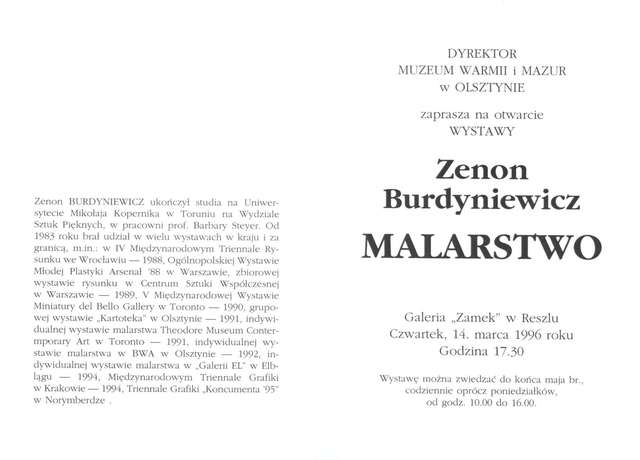 Wystawa – Zenon Burdyniewicz. Malarstwo - full image
