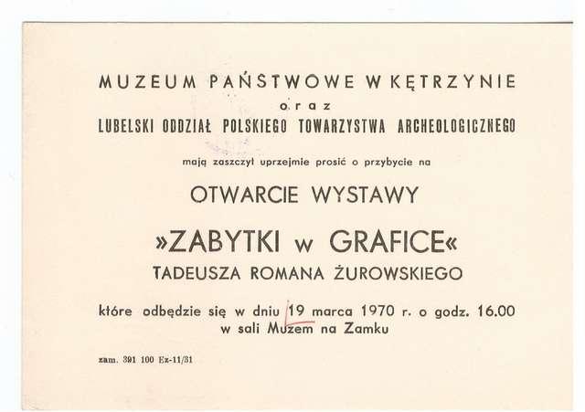 Wystawa – Zabytki w grafice Tadeusza Romana Żurowskiego - full image