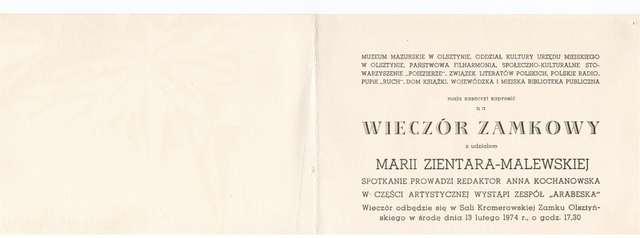 Wieczór zamkowy z udziałem Marii Zientary – Malewskiej  - full image