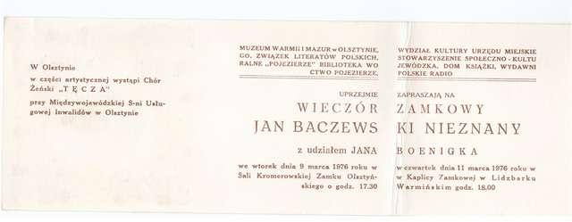 Wieczór zamkowy – Jan Baczewski z udziałem Jana Boenigka - full image