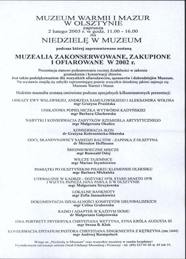 Muzealia zakonserwowane, zakupione lub ofiarowane w 2002 r. - full image