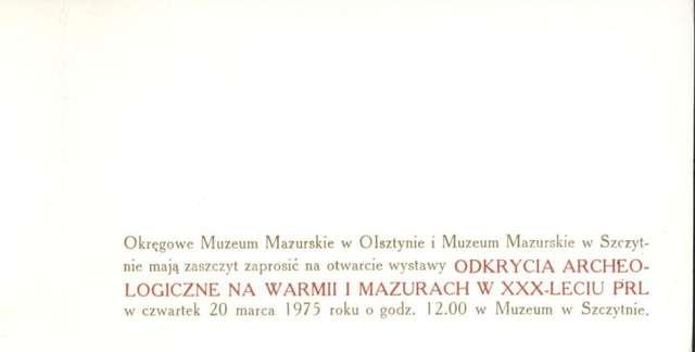 Wystawa – Odkrycia archeologiczne na Warmii i Mazurach w XXX – leciu PRL - full image