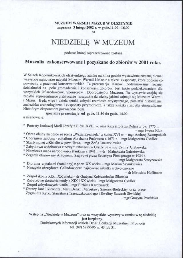 Muzealia zakonserwowane, zakupione lub ofiarowane w 2001 r. - full image
