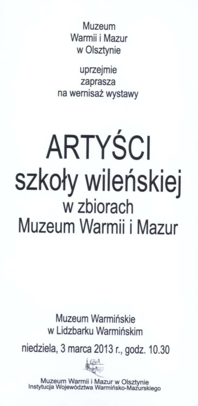 Wystawa – Artyści szkoły wileńskiej w zbiorach Muzeum Warmii i Mazur - full image
