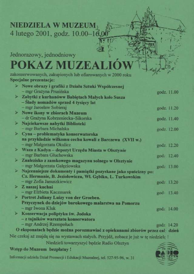 Pokaz muzealiów zakonserwowanych, zakupionych lub ofiarowanych w 2000 r. - full image