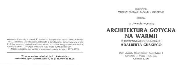 Wystawa – Architektura gotycka na Warmii w dokumentacji fotograficznej Adalberta Guskiego  - full image