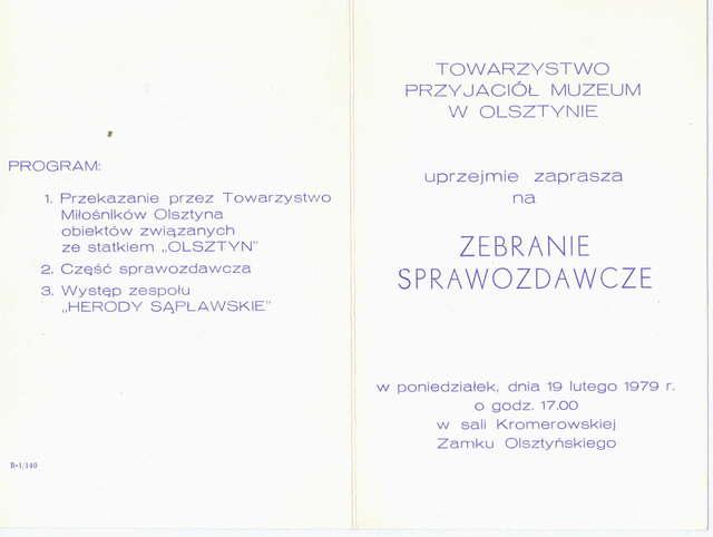 Zebranie sprawozdawcze Towarzystwa Przyjaciół Muzeum w Olsztynie - full image