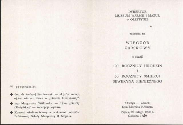 Wieczór zamkowy z okazji 100. Rocznicy urodzin i 50. Rocznicy śmierci Seweryna Pieniężnego - full image