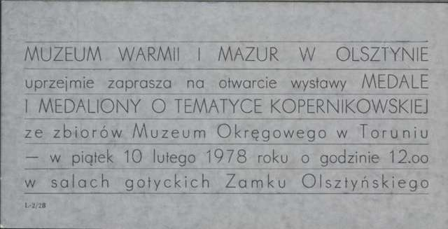 Wystawa – Medale i medaliony o tematyce kopernikowskiej  - full image