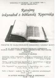 Niedziela w Muzeum – Ratujmy inkunabuł z biblioteki Kopernika