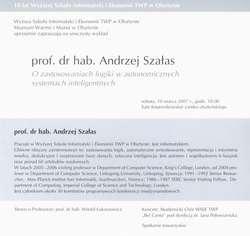 Wykład – prof. dr hab. Andrzej Szałas – O zastosowaniu logiki w autonomicznych systemach inteligentnych