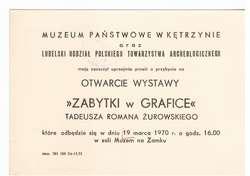 Wystawa – Zabytki w grafice Tadeusza Romana Żurowskiego