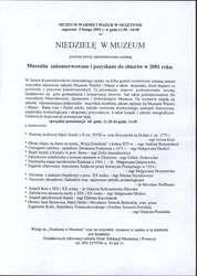 Muzealia zakonserwowane, zakupione lub ofiarowane w 2001 r.