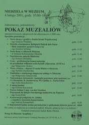 Pokaz muzealiów zakonserwowanych, zakupionych lub ofiarowanych w 2000 r.