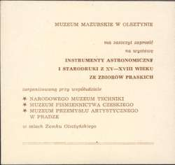 Wystawa – Instrumenty astronomiczne i starodruki z XV – XVIII w. ze zbiorów praskich