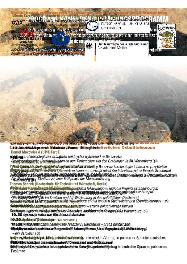"""Program konferencji """"Alt Wartenburg – Barczewko i  średniowieczna kolonizacja Warmii"""" - full image"""
