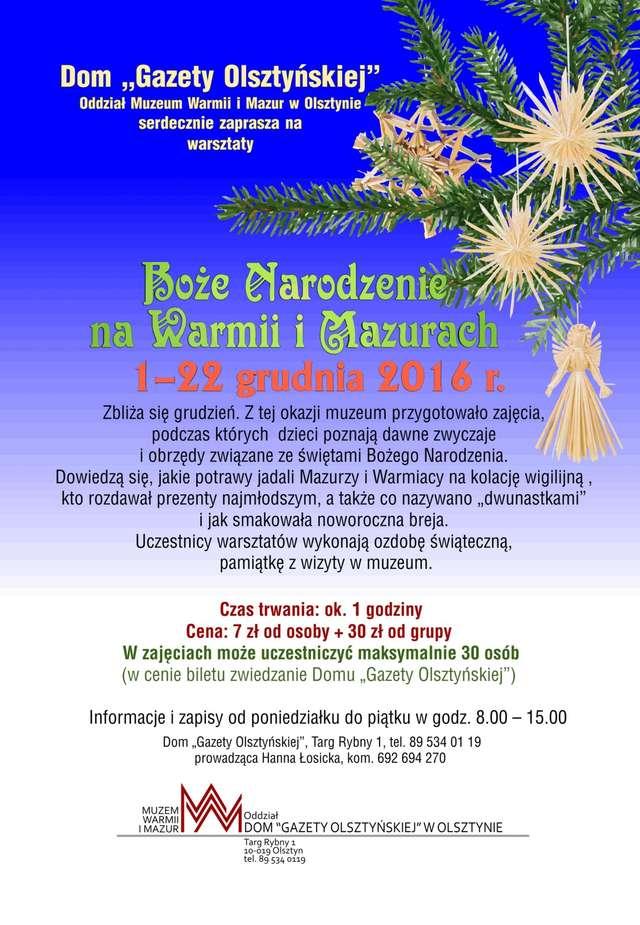 Warsztaty Boże Narodzenie na Warmii i Mazurach w Domu Gazety Olsztyńskiej - fotorelacja - full image