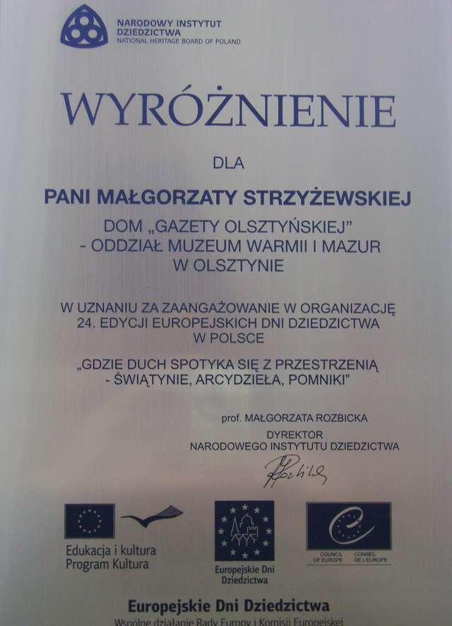 """Narodowy Instytut Dziedzictwa wyróżnił Dom """"Gazety Olsztyńskiej"""" - full image"""