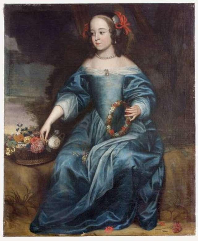 Portret księżniczki orańskiej Marii jako Flory, namalowany po 1653 r. przez Gerada van Honthorsta. - full image