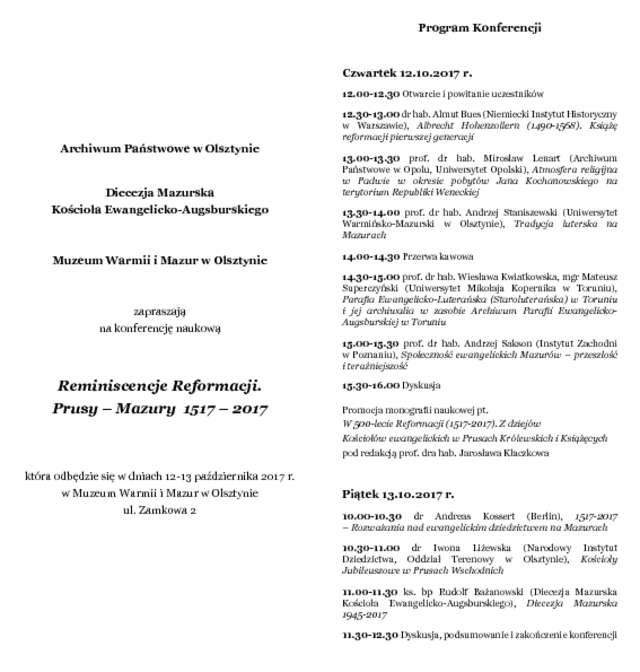Konferencja w 500-lecie reformacji - full image