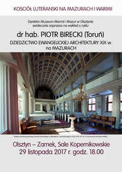 Wykład z cyklu Kościół luterański na Mazurach i Warmii
