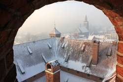 Zamek lidzbarski zimą