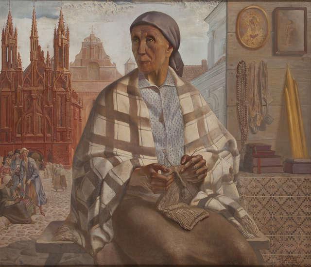Ludomir Slendziński (1889-1980), Sprzedawczyni dewocjonaliów, 1940, olej, deska.jpg - full image