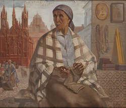 Ludomir Slendziński (1889-1980), Sprzedawczyni dewocjonaliów, 1940, olej, deska.jpg