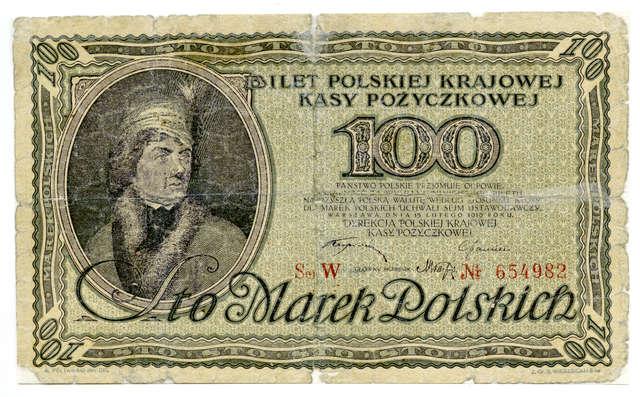 Tadeusz Kościuszko na pierwszych banknotach niepodległej Polski - full image