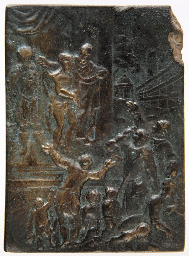 """Ecce Homo. Upokorzony """"król"""" na plakiecie Matiasa Wallbauma (1554-1632) - full image"""