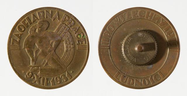 """Odznaka Honorowa  """"Za ofiarną pracę"""" projekt: Stanisław Repeta (1906-1971) wykonanie: zakład St. Reisinga, Warszawa 1931 r., brąz, 33 mm.  - full image"""