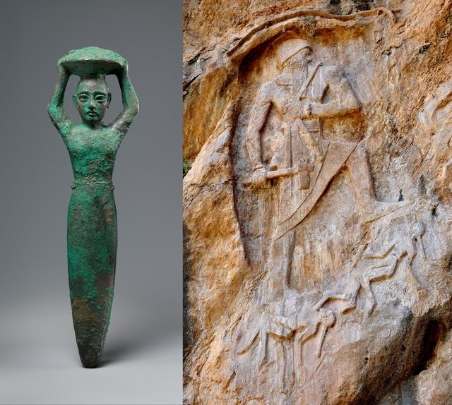 Statuetka fundacyjna przedstawiająca Króla Szulgiego składający ofiarę (włas. Metropolitan Museum of Art Museum) oraz fragment reliefu z Darband-i-Gawr w Iraku przedstawiający Króla jako zdobywcę;. Drugi z wizerunków czasem przypisywany jest Naram-Sinowi  - full image