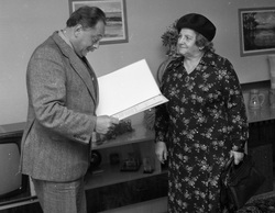 Spotkanie z Władysławą Knosałą. Lata 80-te, fot. Ryszard Czerniewski.
